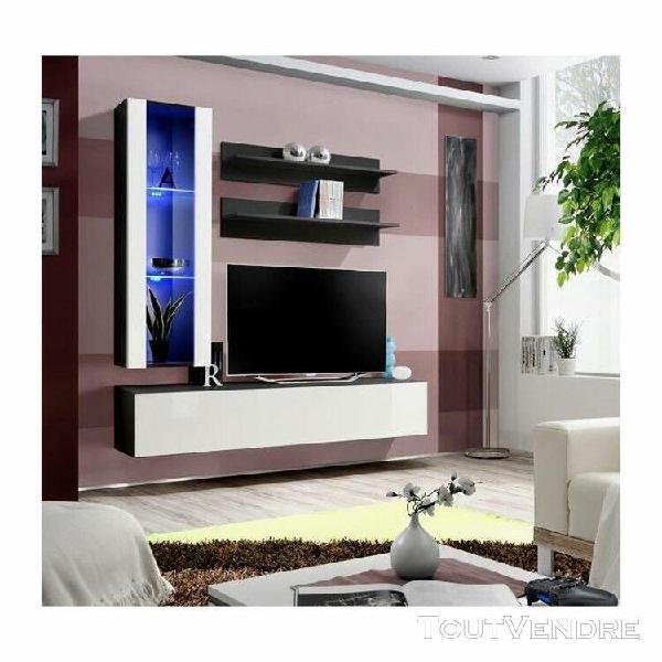 Meuble tv fly h2 design, coloris noir et blanc brillant. meu