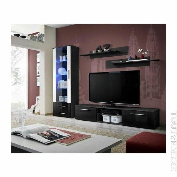 Meuble tv galino a design, coloris noir et blanc brillant. m