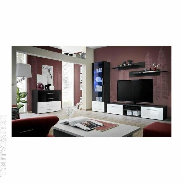 Meuble tv galino b design, coloris noir et blanc brillant. m