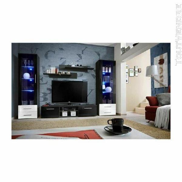Meuble tv galino c design, coloris noir et blanc brillant. m