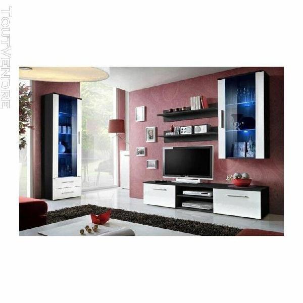 Meuble tv galino f design, coloris noir et blanc. meuble mod