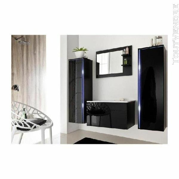 Salle de bain complète dream noir façade laqué, brillante