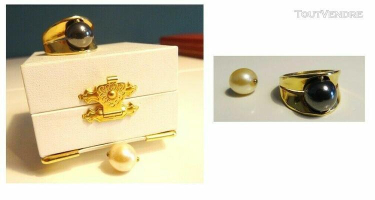 bague femme plaqué or avec perles noir et blanche densis