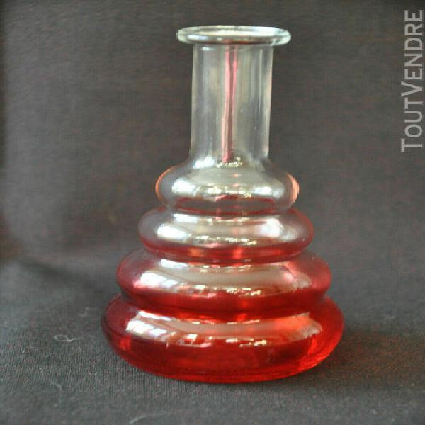 Bouteille forme topette verre moulé rouge 14 cm
