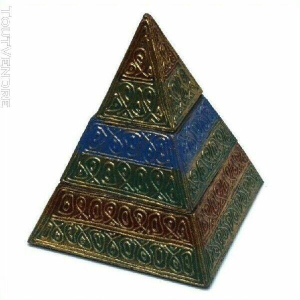 Coffret boite 2 niveaux pyramide bois decore or