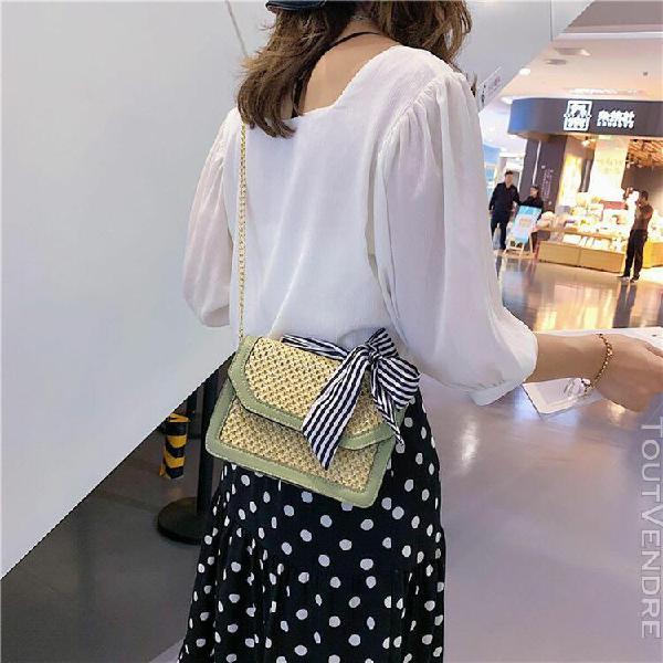 Femmes chaîne sac de paille plage brochage petit carré sac