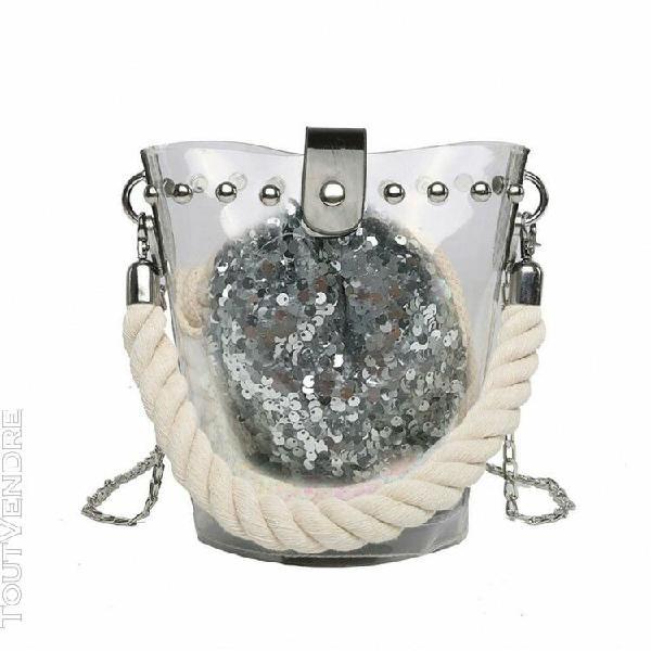 Fille paillettes sacs de crossbody en cuir femmes mode sac d
