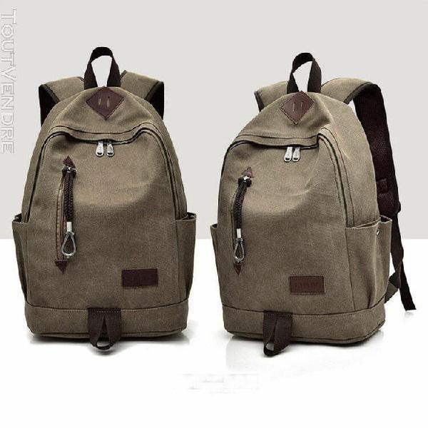 Hommes casual canvas sac à dos école élève voyage sac