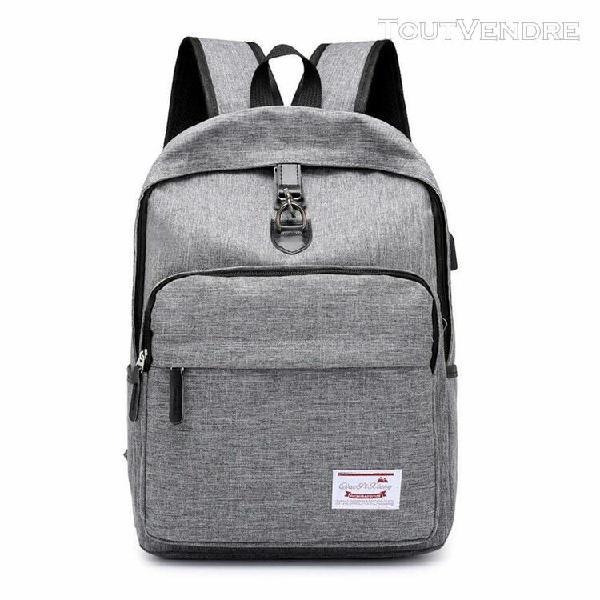Hommes rechargeable sac à dos école voyage sac en nylon