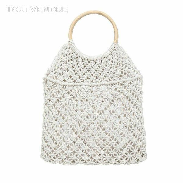 Mode de paille tissé sac de femmes de couleur solide sac à