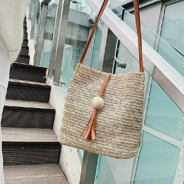 Mode pour dames d'été paille tassel bois boule sauvage sac