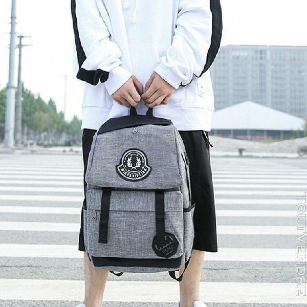 Neutre rechargeable sac à dos école voyage sac en nylon