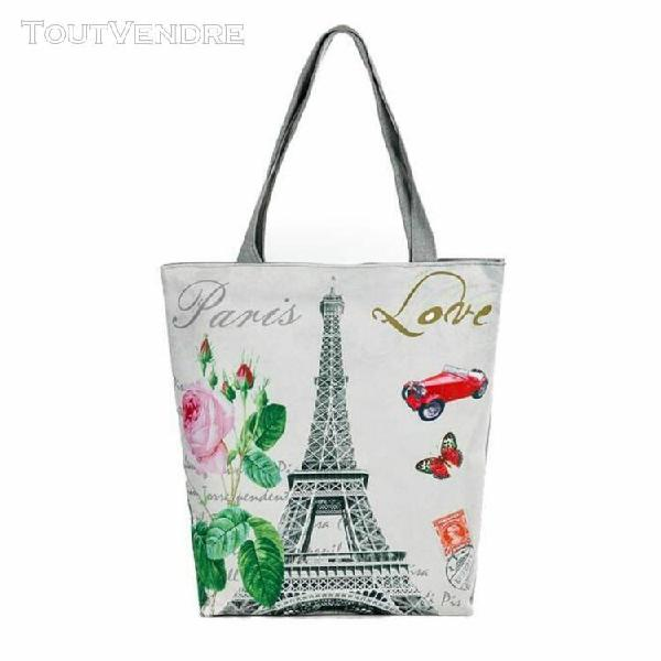 Paris tour de toile de sacs de plage casual femmes sacs à