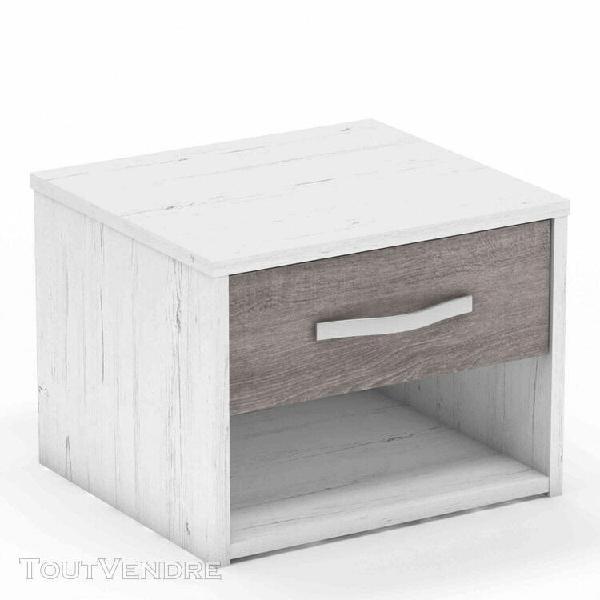 Chevet 1 tiroir en bois blanc et chêne prata - ch165