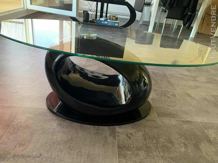 Table basse noire avec verre conforama