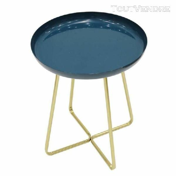 Table d'appoint plateau rond glossy - bleu - l 40 x p 40 x h