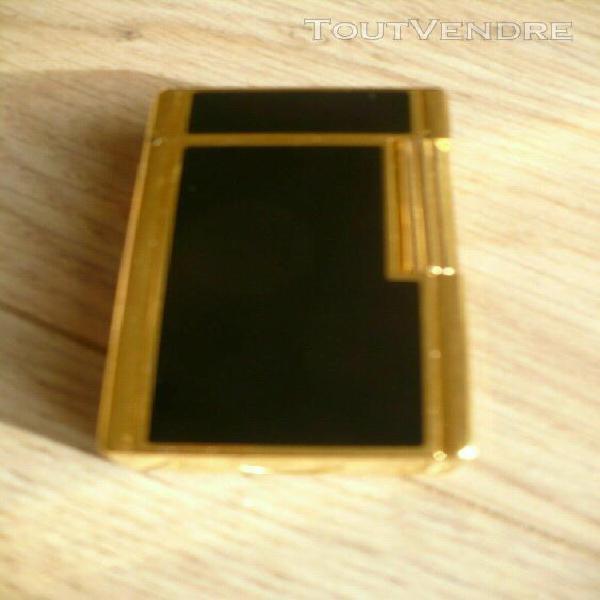 briquet dupont laque de chine noir plaque or comme neuf