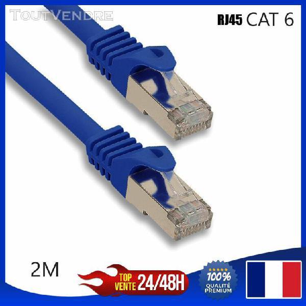 Cable reseau ethernet rj45 cat 6 bleu 2m mètres ordinateur