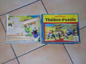jeu de société enfant ancien puzzle disney theatre bois