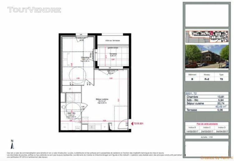 T2 de 40m2 avec terrasse de 5m2 et parking - marignane 13700