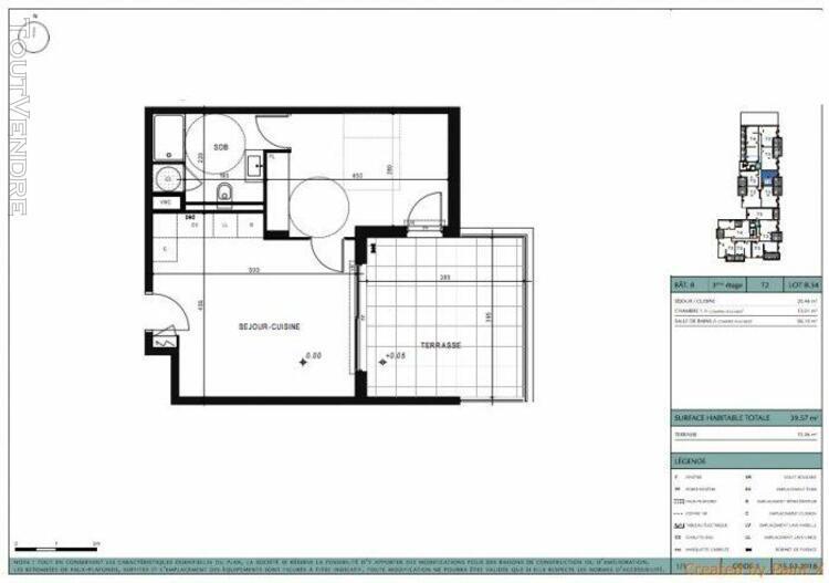 T2 de 40m2 avec une terrasse de 15m2, un box et une cave - m