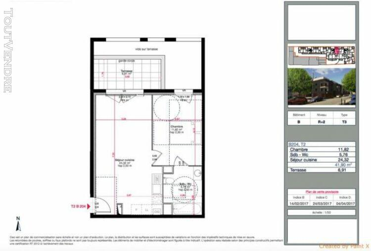 T2 de 41m2 avec terrasse de 6m2 et parking - marignane 13700