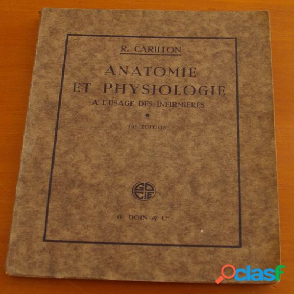 Anatomie et physiologie à l'usage des infirmières, r. carillon