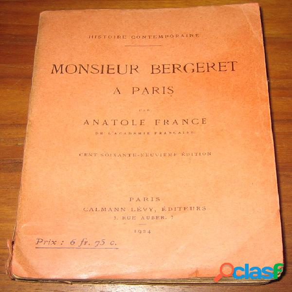 Monsieur bergeret à paris, anatole france