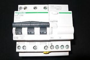 Disjoncteur differentiel 32a 30ma tetrapolaire, schneider
