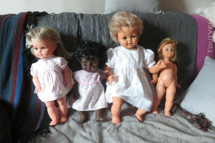 3 poupées raynal tinnie noire + bebe anime 1964 + kdo bella