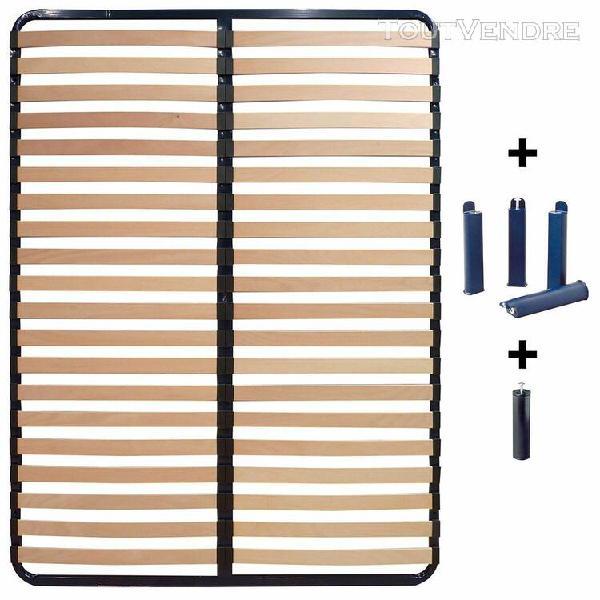 altolattes - pack sommier 2x20 lattes 160x200cm + pieds bleu
