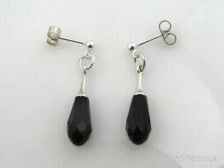 Boucles pendantes argent 925 goutte noire swarovski fermoirs