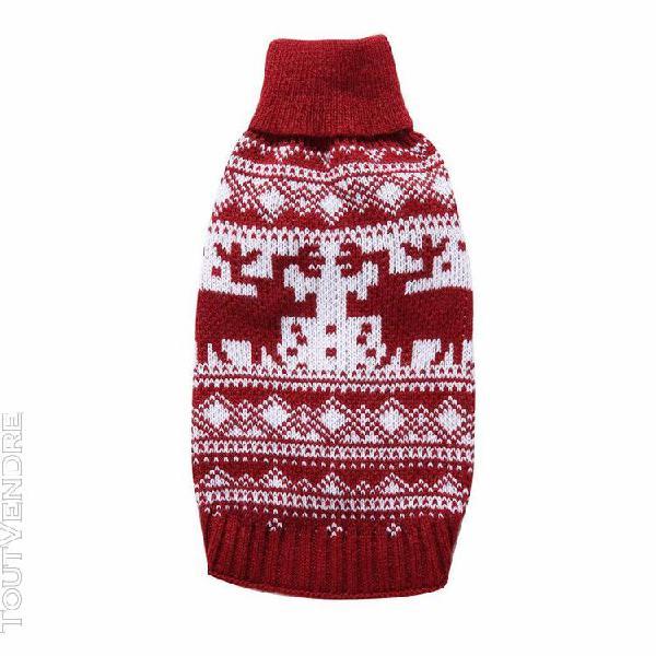 Chien chiot pull sweater chaud pour chien de noël manteau