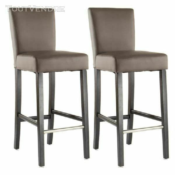 lot x2 chaises de bar taupe turner