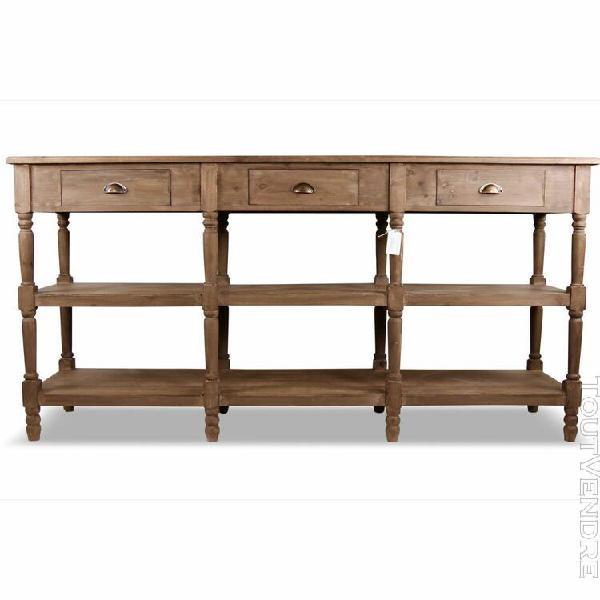 meuble console drapier bois 3 tiroirs 199x50x99cm - marron -