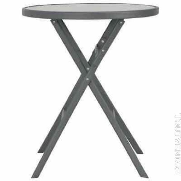 table de bistro pliable d'extérieur 60 x 70 cm verre et