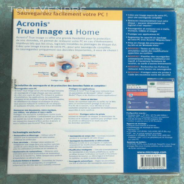 acronis true image 11 home - avec clé