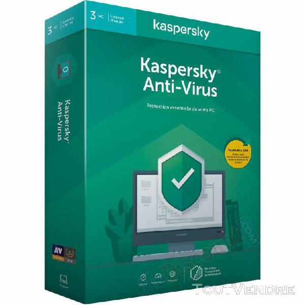 logiciel sécurité kaspersky antivirus - 1 an / 3 pc