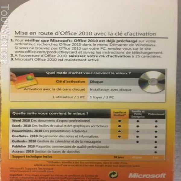 microsoft office 2010 famille et étudiant clé d'activation