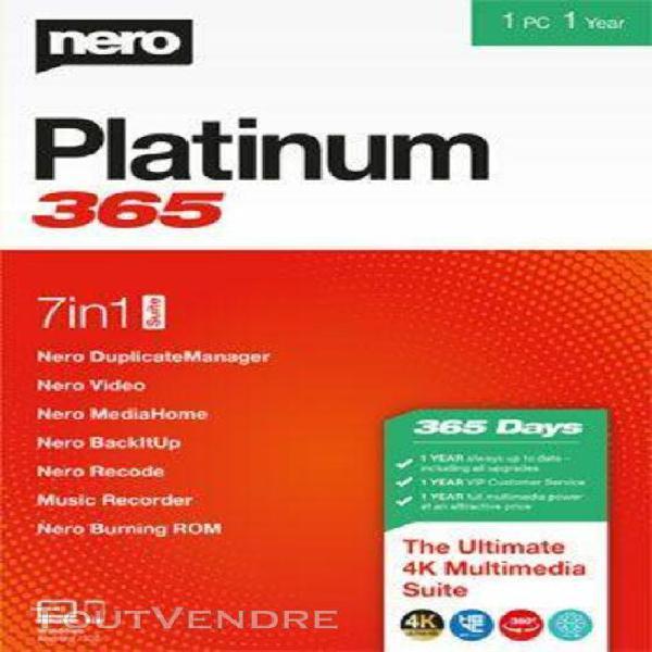 nero platinum 365 - 1 an - logiciel en téléchargement