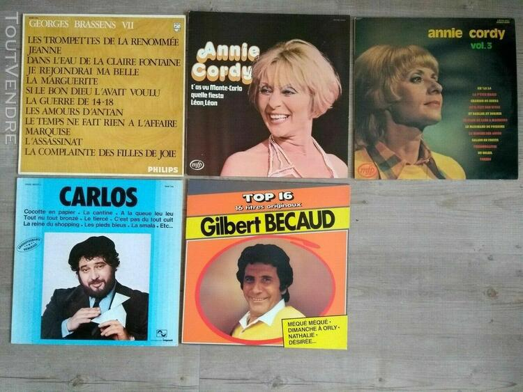 lot 37x albums 33t brassens, becaud, cordy, carlos, music-ha