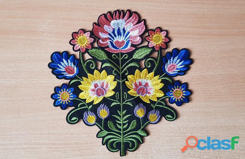 écusson brodé bouquet de fleur taille XL 26x25 cm thermocollant, pas besoin de couture