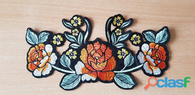 Écusson brodé bouquet de fleur taille xl thermocollant, pas besoin de couture