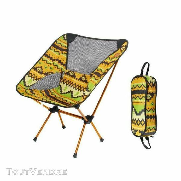 chaise de camping pliable - 57x35x65cm jaune