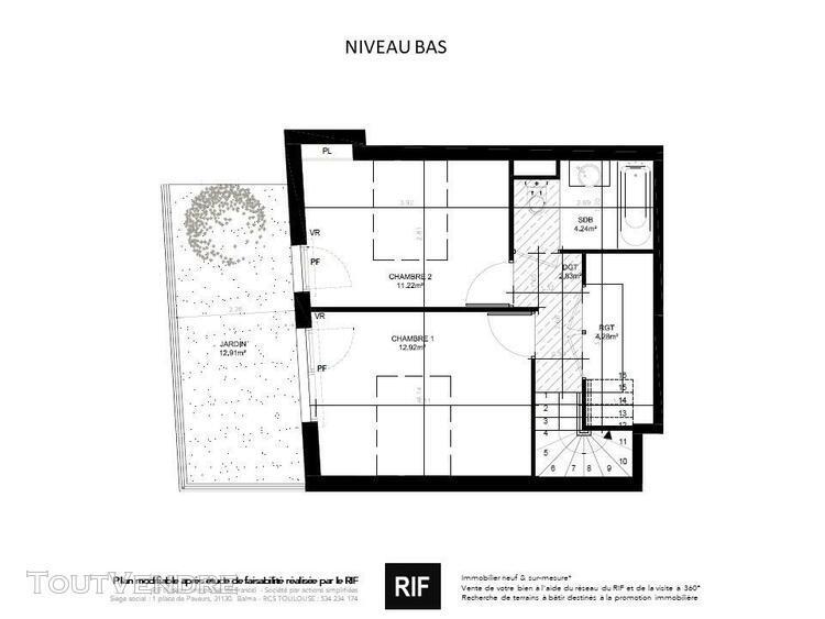 Duplex t3 de 73 m² avec balcon et jardin