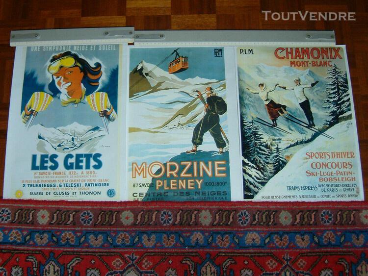 Lot de 3 affiches sports d'hiver - en parfait état - 3 stat