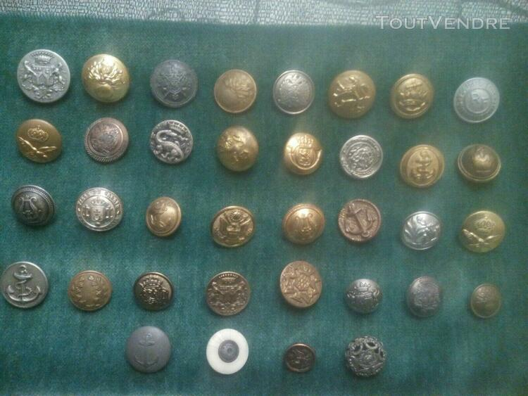 Lot de 36 boutons divers armee different pays, vennerie, p
