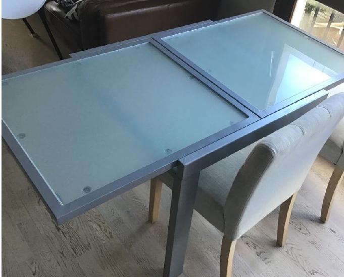 Table en métal et verre, extensible, bon état