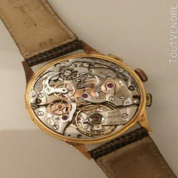 Very rare chronographe vintage olma or 18k valjoux 22 superb