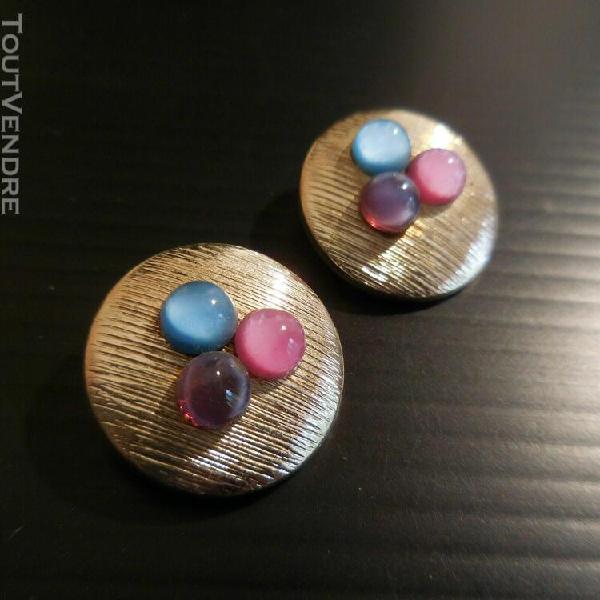 Boucles oreille perle plaqué argent clip cuivre bijou